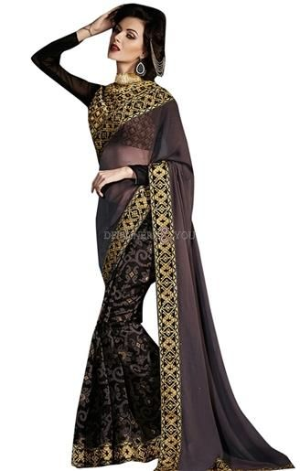 Embellished party wear designer saree model duos jacket style blouse  #Trendy Saree #Model #New Look #Embroidered #Indian Wear #Gorgeous  #Beauty #Fancy #Nice