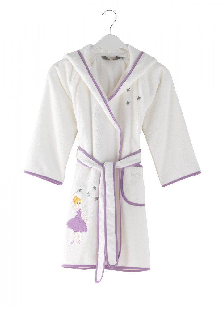 Dětský župan pro holčičky v barvě lila je k dostání od 2-10 let. Možno dokoupit také papučky stejného provedení.