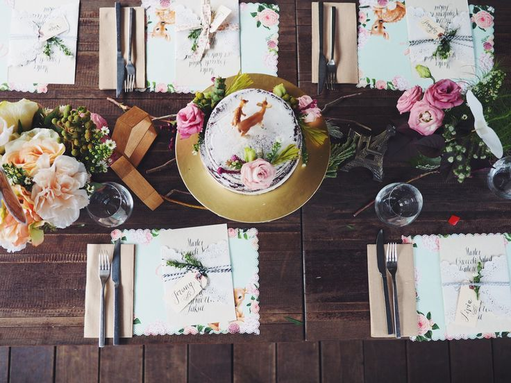 Rustic party decor. Table set up. Deer theme