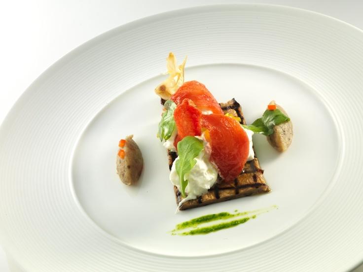 """Eggplant with half dried tomatoes, """"burrata of Andria"""""""
