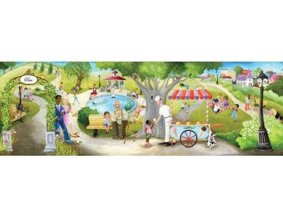 """""""Sunday at the Park"""". A wallpaper mural from Muralunique.com. This is an original painting from Johanne Pépin. https://www.muralunique.com/sunday-at-the-park-24-x-8-732m-x-244m.html"""