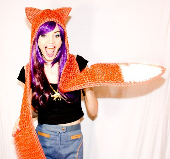 Red Fox Scoofie Crocheted Orange Double Tail by pinkavenger