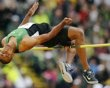 Decathlete Ashton Eaton competes in the decathlon high jump at the U.S. Olympic athletics trials in Eugene, Oregon