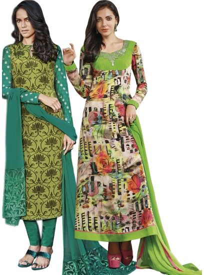 Graceful Printed Crepe Straight Cut Style Green & Multi Combo Suit D.No.- 6542,6551