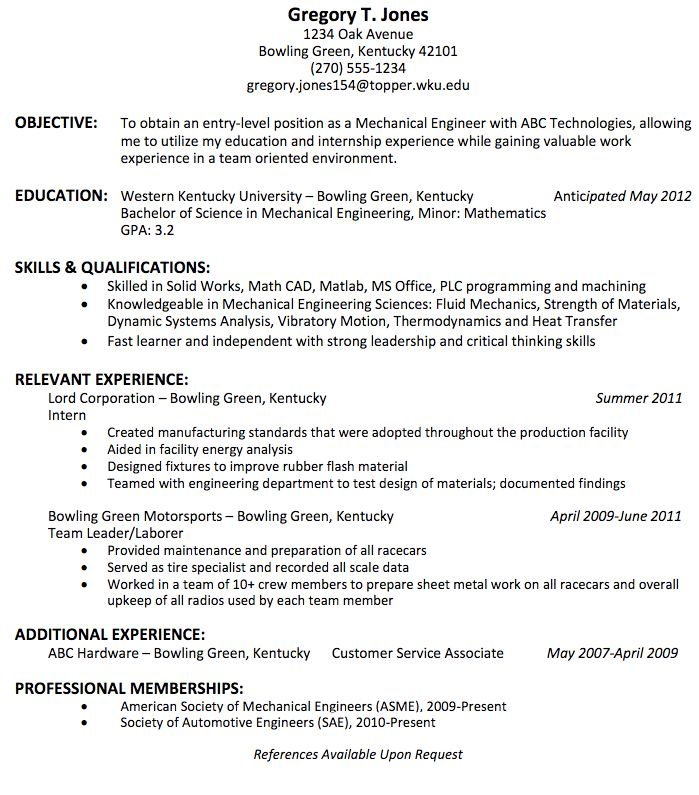 mechanical engineering resume for fresher http