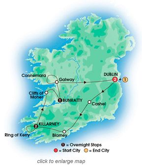 TASTE OF IRELAND 7 Day Tour From $863 after discount  Pre-night in Dublin,  Ending in Dublin   Superior & First Class Hotels •Bewleys Hotel - Ballsbridge  Dublin (2 nights) •Killarney Towers Hotel & Leisure Centre  Killarney (2 nights) •Bunratty Castle Hotel  Bunratty (1 night) •Academy Plaza Hotel  Dublin (1 night)