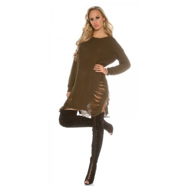 Pletené šaty/sveter KouCla Oversize Khaki