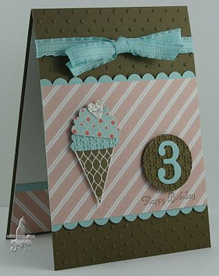 Cute Card...banner punch, cupcake punch....scallop punch