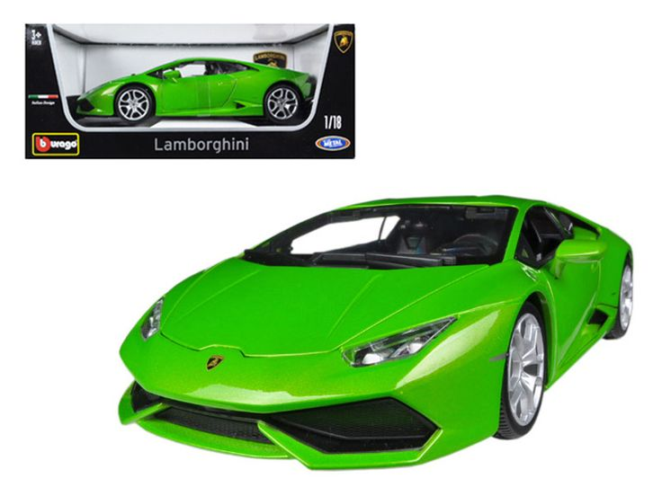 Lamborghini Huracan LP610-4 Green 1/18 Diecast Car Model by Bburago - Brand new 1:18 scale diecast car model of Lamborghini Huracan LP610-4 Green die cast car model by Bburago. Rubber tires. Steerable wheels. Brand new box. Has opening hood, doors and trunk. Detailed interior, exterior, engine compartment. Dimensions approximately L-10.5, W-4, H-3.25 inches. Please note that manufacturer may change packing box at anytime. Product will stay exactly the same.-Weight: 4. Height: 8. Width: 15…
