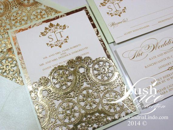 Mint Green And Gold Wedding Invitations: Mint Green And Gold Invitation By AlexandriaLindo On Etsy