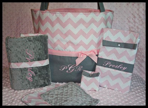 Baby Girl Monogrammed Pink and Gray Chevron Diaper Bag Set with Changing Pad, Wipes Case, Pacifier Pouch and Burp Cloths on Etsy, $114.99