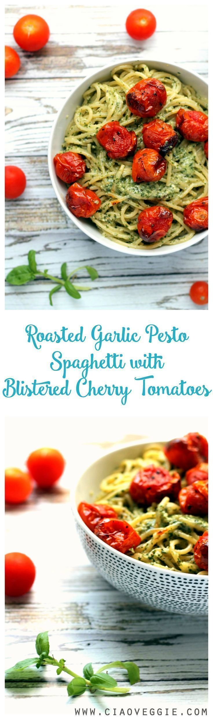 A tasty double garlic pesto spaghetti topped with sweet, jammy blistered cherry tomatoes. This is simple to prepare and will soon become your favorite pasta dish! Naturally vegan, can be made gluten free by using zoodles / courgetti!