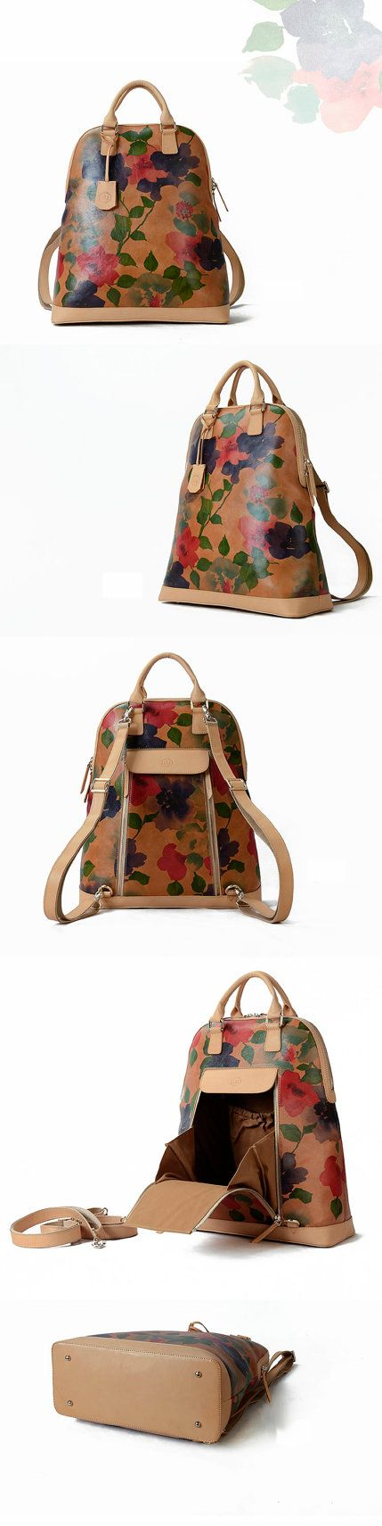 Floral Print Leather Backpack-Large Cool Women por KiliDesign