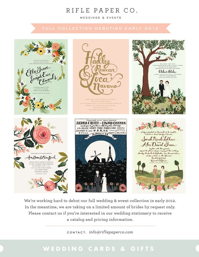 SO EXCITED for Rifle Paper Co's release of their wedding/event collection in 2012! ECK! I better find a man quick ha