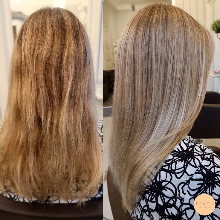 Naturlig blond hårfärg med slingor i beigeblond och kall ask