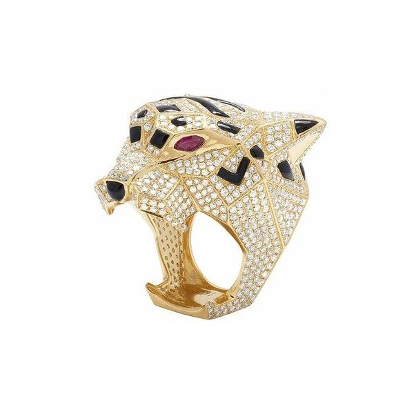 Men's 14K Yellow Gold Genuine Diamond Panther Custom Pinky Ring 8 1/2 ($11,000) ❤ liked on Polyvore featuring men's fashion, men's jewelry, men's rings, mens gold rings, mens 14k gold rings, mens diamond pinky rings, mens watches jewelry and 14k gold mens pinky ring