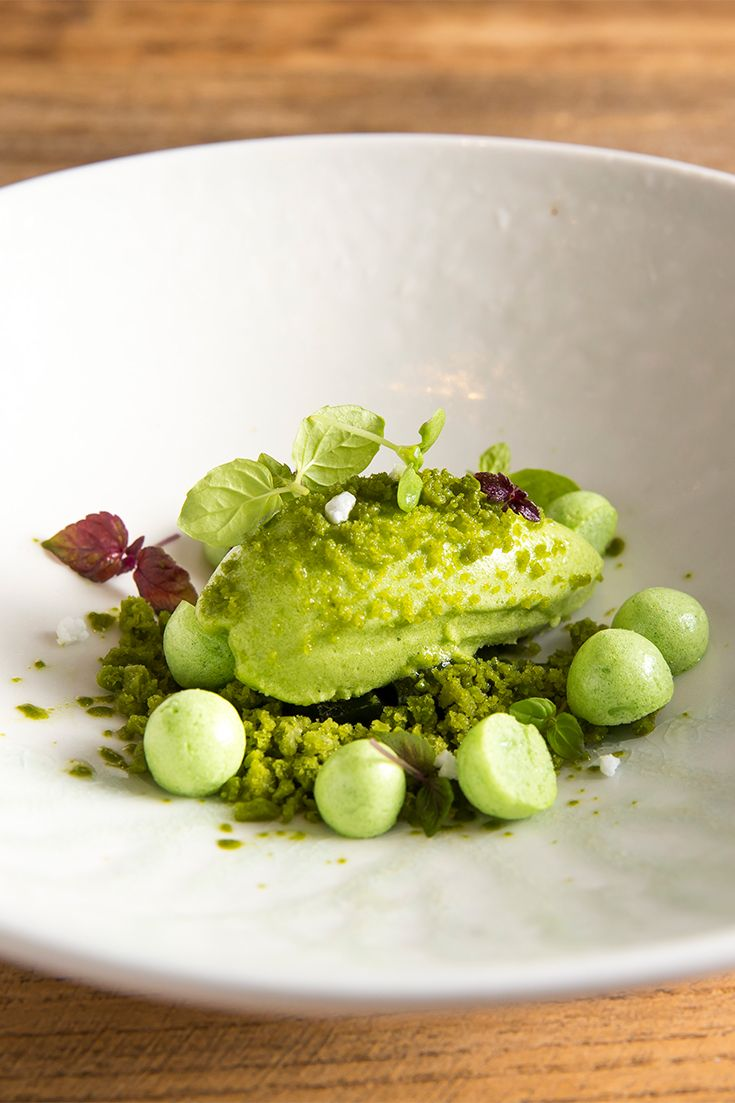 A quenelle of sorrel sorbet sits atop zingy lemon basil granita, minty meringues impersonating petit pois and shiso jelly.