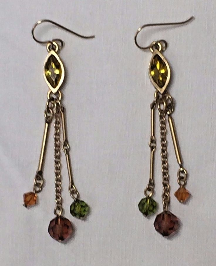 Patricia Locke Earrings - Gold toned with Yellow Crystals and Glass Beads #PatriciaLocke