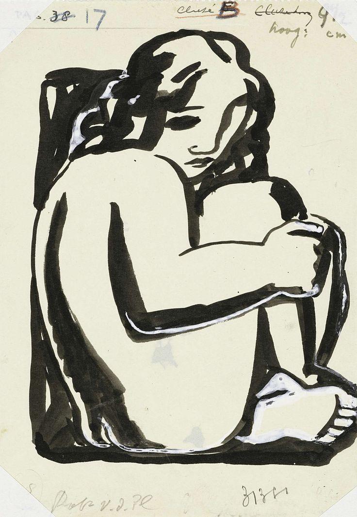 Leo Gestel | Naakte zittende vrouw met opgetrokken knieën (schets), Leo Gestel, in or before 1936 | Naakte zittende vrouw met opgetrokken knieën, de amandelvormige ogen met zwart ingevuld, diagonale arceringen bij de omtrekken van de lichaamsdelen.