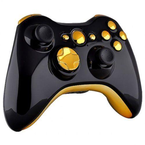 Custom Black Xbox 360 Controller / Gold Buttons