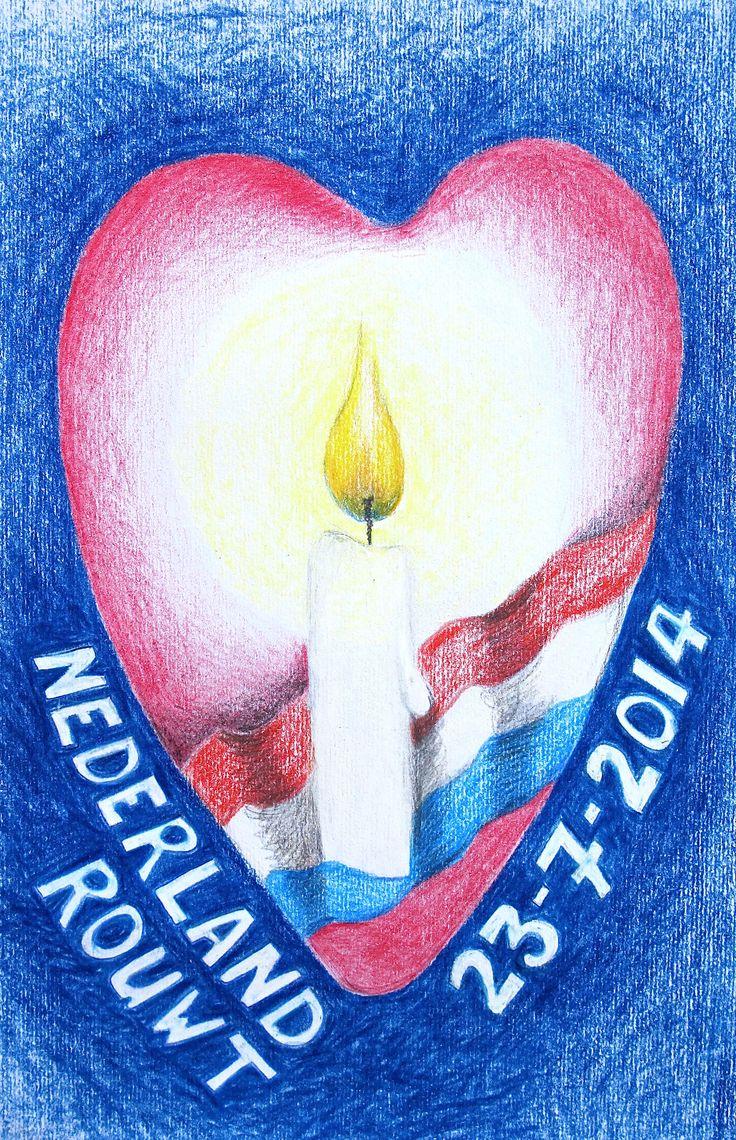 23 juli 2014 Dag van Nationale Rouw in Nederland voor de slachtoffers en nabestaanden van de ramp met de Boeing 777 Vlucht MH17 van Malaysia Airlines