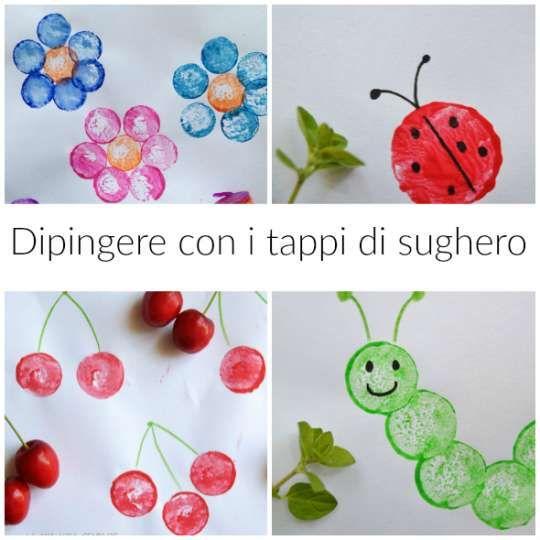 Idee per dipingere con i tappi di sughero riciclati, attività creativa a costo zero per i bambini.