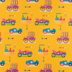 Bomull gul m tecknade bilar