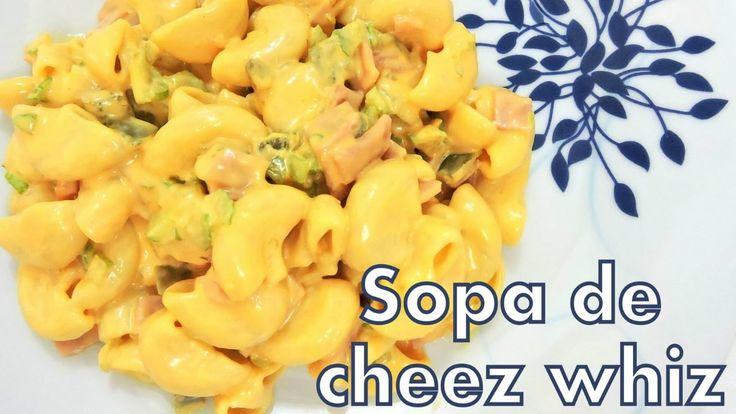 Ensalada de Coditos con Queso Cheez Whiz -  Receta Deliciosa - Pasta sop...