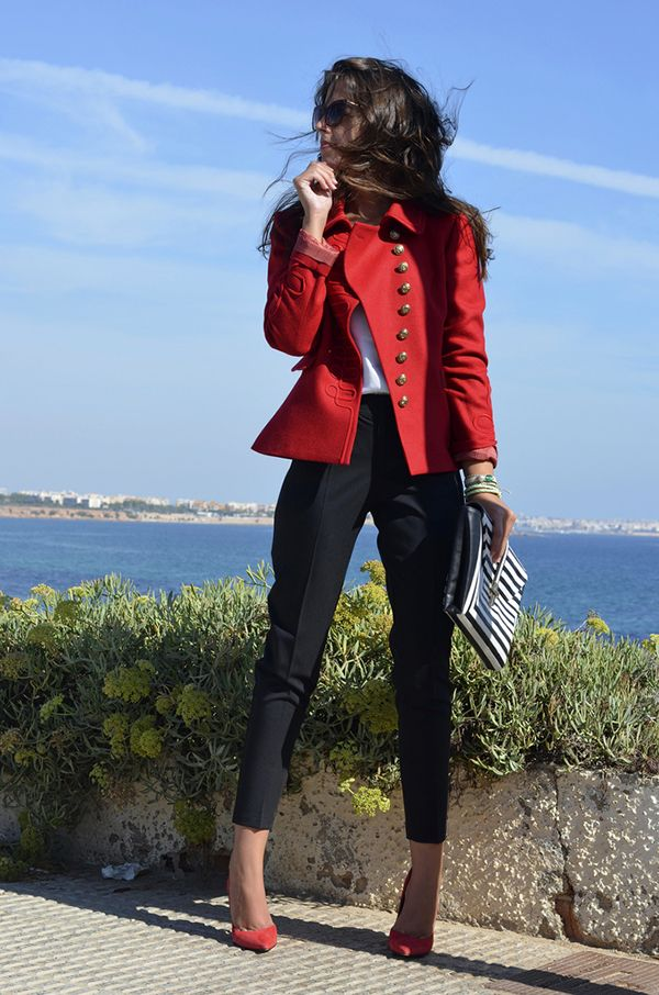 women fashion clothing style outfit blazer jacket red pants black heels purse sunglasses spring autumn casual