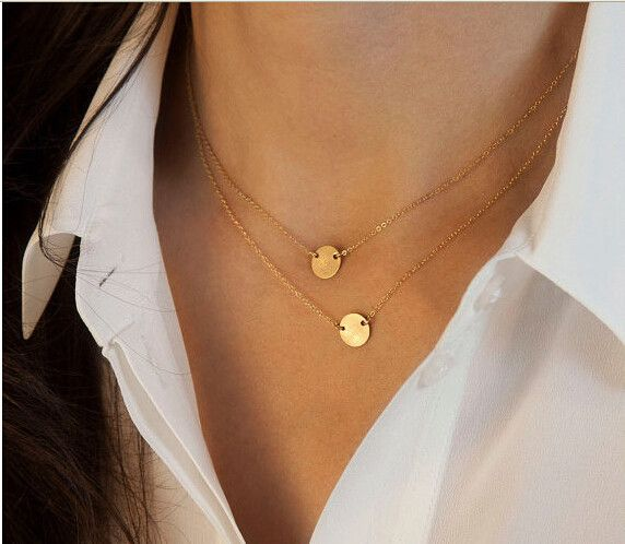 Star Jewelry Fashion Gold Plated Cute Round Choker Necklace For Woman 2015 New Pendant Necklaces