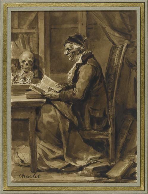 """""""Le philosophe"""" de Nicolas Toussaint Charlet (1792-1845). Paris, musée du Louvre, D.A.G. - Photo (C) RMN-Grand Palais (musée du Louvre) / Thierry Le Mage"""
