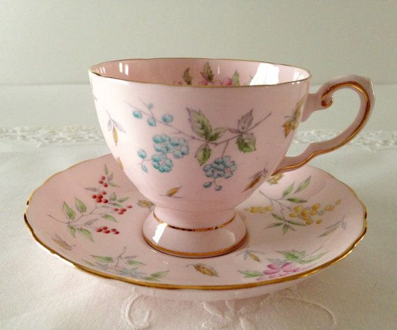 Beautiful Pink Floral Tuscan China Tea Cup & Saucer Teacup Duo