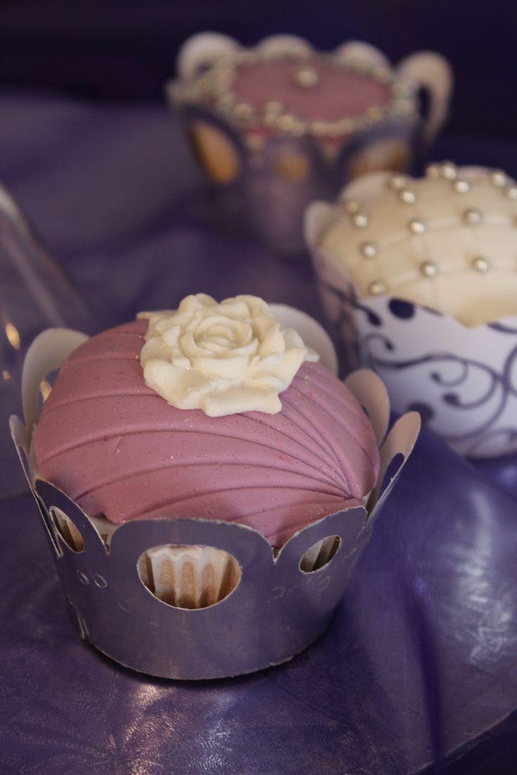 Purple & white Wedding Cupcakes