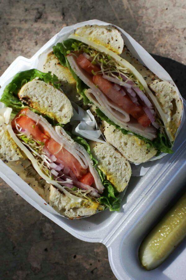 turkey and provelone bagel sandwich from Locks Of Bagels | Honolulu, #Hawaii