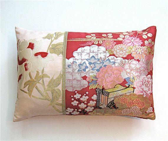 Vintage Silk Kimono Obi Pillow  Peonies Mums by KimonoArtStudio, $168.00