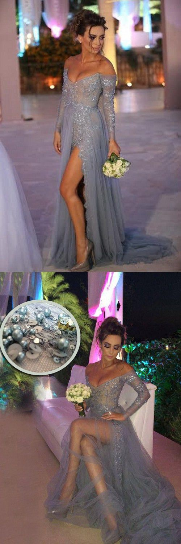 sexy prom dresses,grey prom dresses,high split prom dresses,long sleeves prom dresses,2017 prom dresses