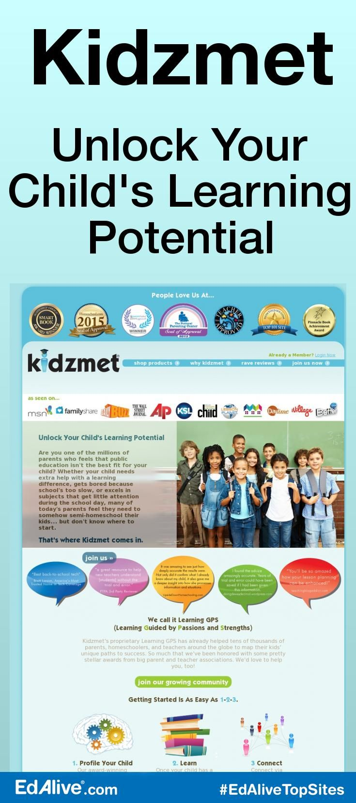 Kidzmet | Unlock Your Child's Learning Potential | A Learning GPS (Guided by Passions and Strengths) that helps parents have the tools to learn how to speak in their kids' learning languages. Kidzmet aims to help parents, teachers, tutors & coaches understand how to make learning FUN for each unique child. #CrossCurricular #EdAliveTopSites