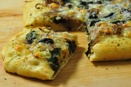 ... Cracklins | Cheesy Focaccia with Caramelized Onions & Sautéed Spinach