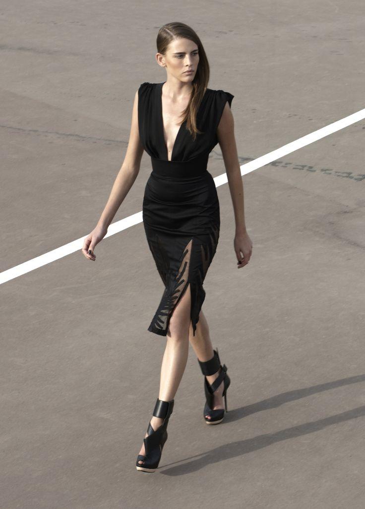 Below knee length tube dress with slit