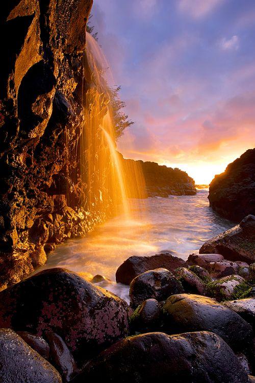 ~~Queen's Bath Waterfall Sunset   Kauai, Hawaii by ...