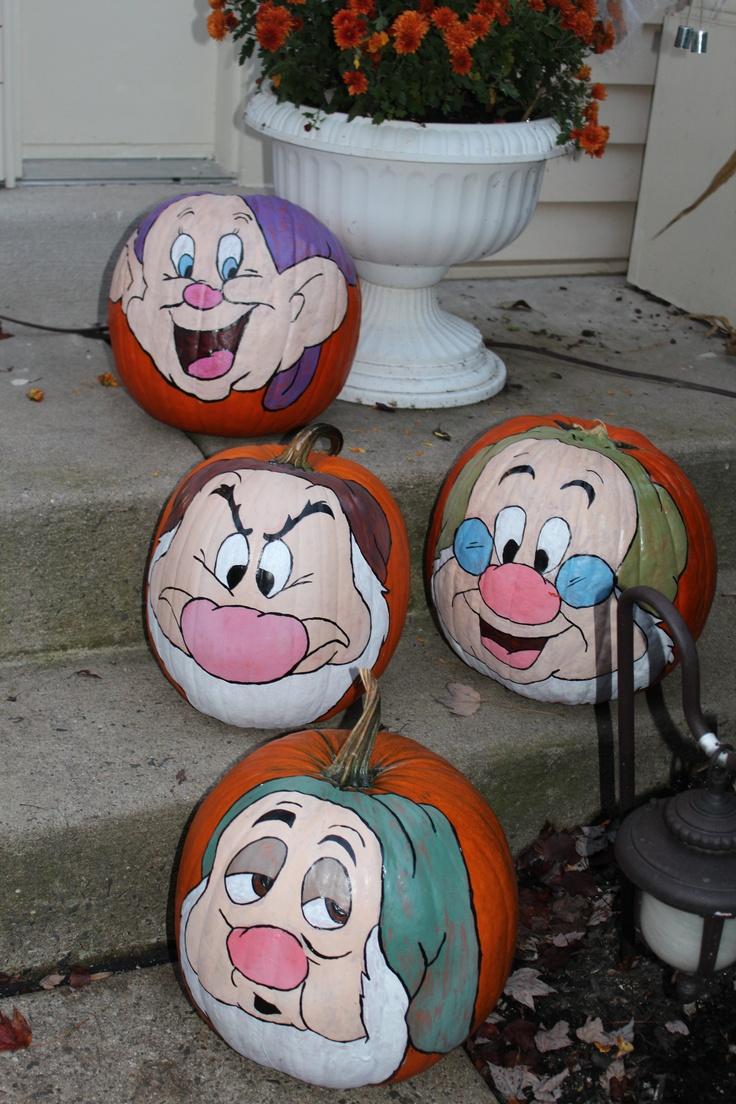 Dopey, Grumpy, Happy, Sleepy, Hand painted pumpkins
