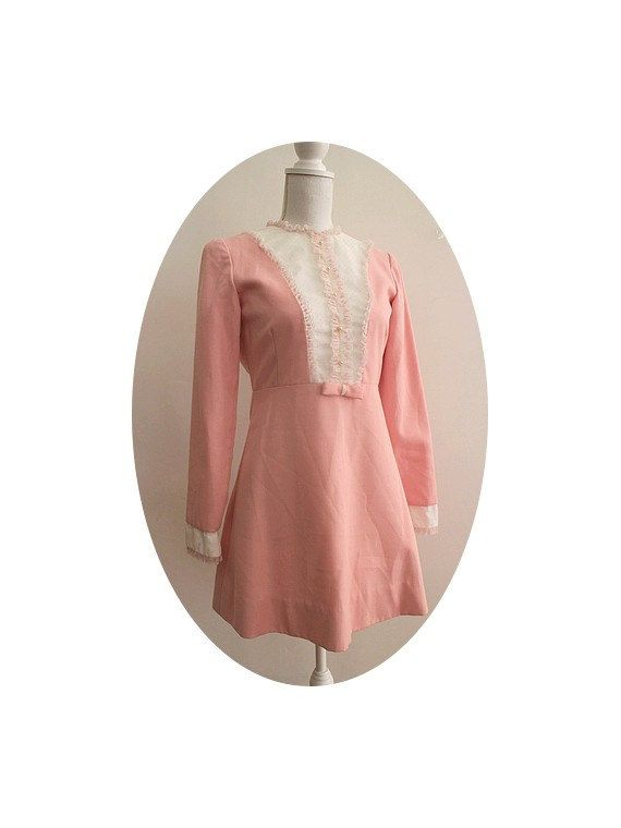 70s short pink kawaii dress small by lesclodettes on Etsy