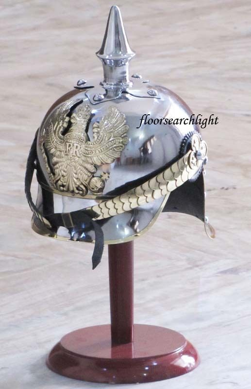 GERMAN FR BADGE PRUSSIAN PICKELHAUBE STEEL & BRASS HELMET MILITARY SPIKE HELMET