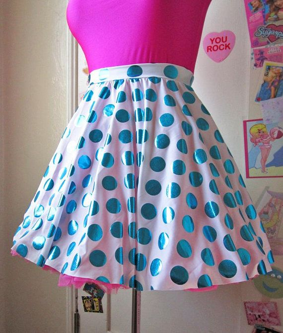 ee52c606fad8 Skater skirt, metallic polka dot blue white spandex 80s fairy kei size L  large