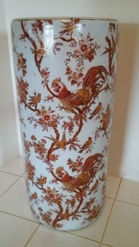 Vintage-Ceramic-Pottery-Umbrella-Stand-Rooster-Birds-Floral-White-Red-amp-Gold