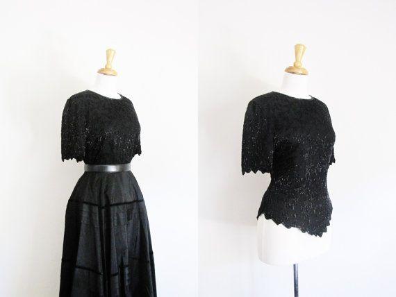 S A L E / vintage beaded geschulpte blouse / pure silk door sodafolk