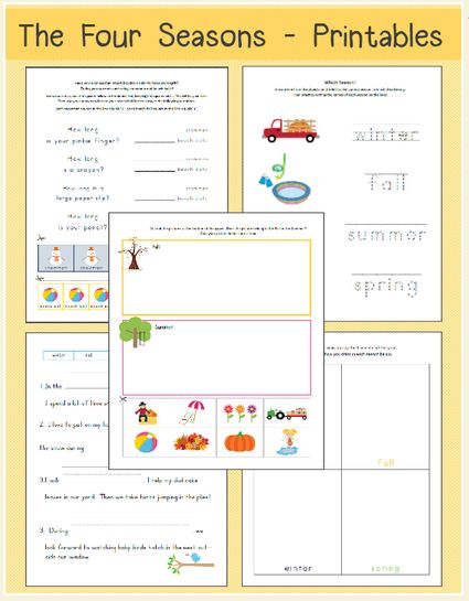 Kindergarten Calendar Time Lesson Plan : Free printable seasons worksheets for kindergarten