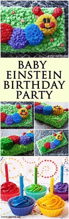 Fun and colorful Baby Einstein Caterpillar birthday party with lots of delicious cake/cupcake recipes and and awesome tips for throwing a successful bash! From cakewhiz.com
