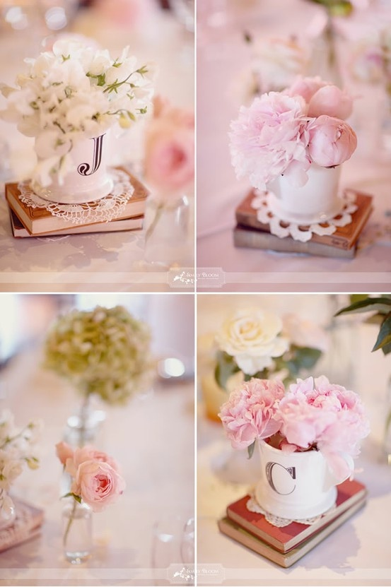Use Monogrammed Coffee Mugs for Flowers (Anthropologie sells them)... great from brunch, tea, or monogrammed themed events!