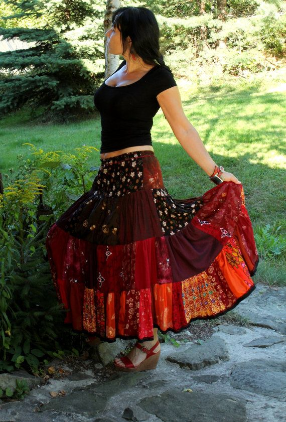 Long and wide gypsy boho skirt tribal bellydance hippie ...